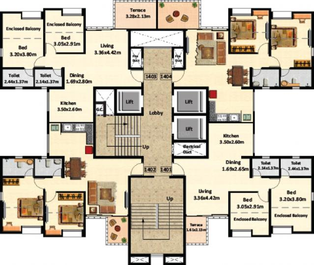 Project Image of 518.71 - 596.54 Sq.ft 2 BHK Apartment for buy in Nyati Elysia II