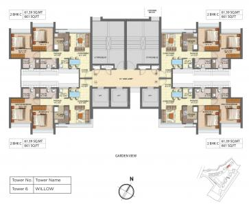 Gallery Cover Image of 1150 Sq.ft 2 BHK Apartment for rent in Runwal Forest Tower 5 To 8, Kanjurmarg West for 36000