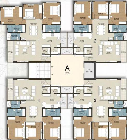 Project Image of 1230.21 - 1252.7 Sq.ft 3 BHK Apartment for buy in Deep Indraprasth Living