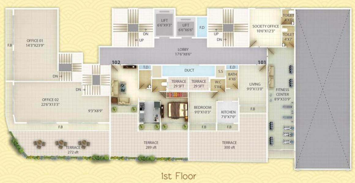 Project Image of 310.43 - 421.19 Sq.ft 1 BHK Apartment for buy in Unimont Coral