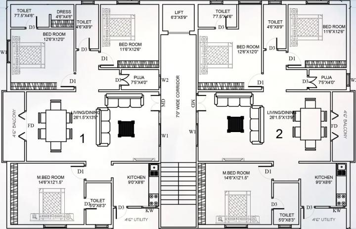 Project Image of 0 - 1725 Sq.ft 3 BHK Apartment for buy in Avantika Yamuna