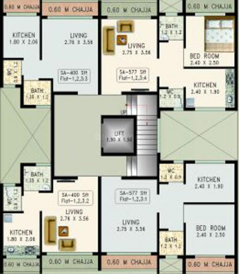 Project Image of 226.9 - 327.98 Sq.ft 1 RK Apartment for buy in Desire Dhawalgiri Apartment