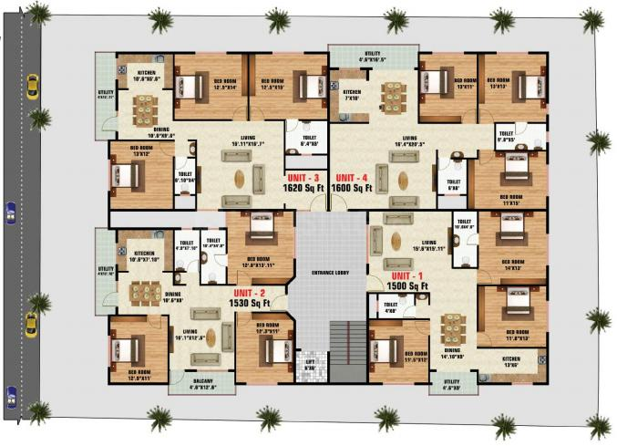 Project Image of 1500.0 - 1620.0 Sq.ft 3 BHK Apartment for buy in S L V Royal Homes