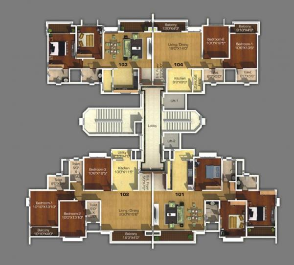 Project Image of 894.0 - 1215.0 Sq.ft 2 BHK Apartment for buy in Pegasus Megapolis Sangria Towers