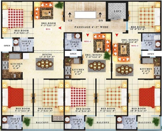 Project Image of 800.0 - 1000.0 Sq.ft 2 BHK Apartment for buy in Maan Rishi Apartment