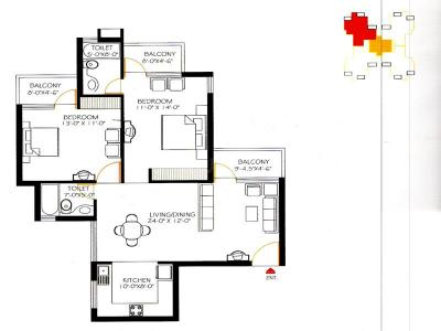Gallery Cover Image of 1248 Sq.ft 2 BHK Apartment for rent in Omaxe Heights, Sector 86 for 14500