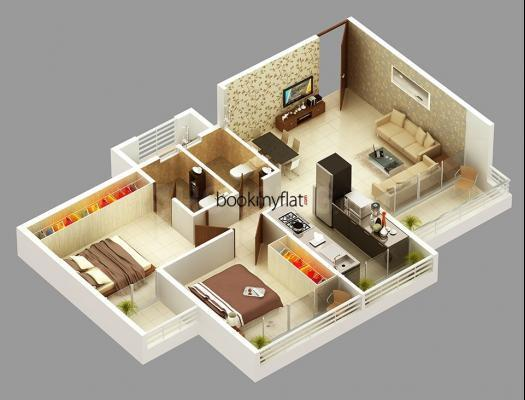 Floor Plan Image of 919 Sq.ft 2 BHK Apartment for buy in Yashwant Nagar for 4580000
