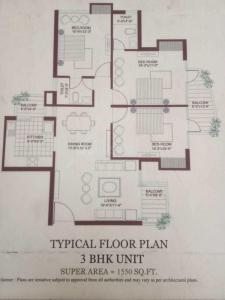 Floor Plan Image of 1550 Sq.ft 3 BHK Apartment for buy in Tulip Petals, Sector 89 for 6200000