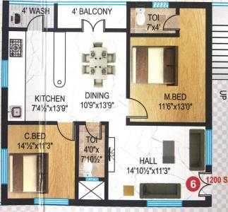 Gallery Cover Image of 1200 Sq.ft 2 BHK Apartment for buy in Kondapur for 6240000