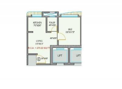 Floor Plan Image of 450 Sq.ft 1 RK Apartment for buy in Shiv Krupa, Malad East for 5800000