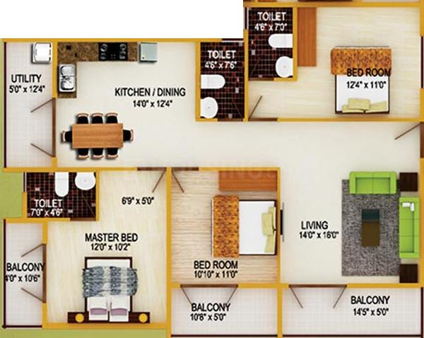 Floor Plan Image of 1154 Sq.ft 2 BHK Apartment for buy in Subramanyapura for 4616000