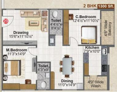 Gallery Cover Image of 1300 Sq.ft 2 BHK Apartment for buy in Fortune Green Falcon, Puppalaguda for 8223000