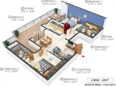 Gallery Cover Image of 2228 Sq.ft 4 BHK Apartment for buy in Casagrand Tudor, Mogappair for 13813600