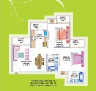 Gallery Cover Image of 950 Sq.ft 2 BHK Apartment for buy in Prateek Laurel, Sector 120 for 4400000