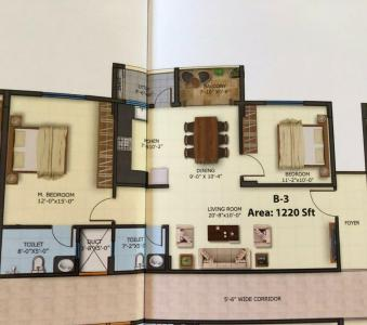 Gallery Cover Image of 1130 Sq.ft 2 BHK Apartment for buy in Adithi Elite, Bhoganhalli for 5989000