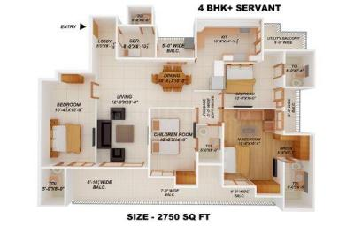 Gallery Cover Image of 2750 Sq.ft 4 BHK Apartment for buy in Aakriti Aakriti Shantiniketan, Sector 143B for 21500000