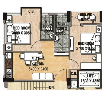 Floor Plan Image of 760 Sq.ft 2 BHK Apartment for buy in Ultadanga for 4650000