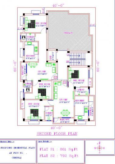 Floor Plan Image of 503 Sq.ft 1 BHK Apartment for buy in  South kolathur for 2900000