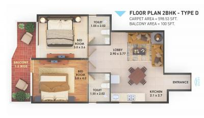 Gallery Cover Image of 1070 Sq.ft 2 BHK Apartment for buy in Pyramid Heights, Sector 85 for 2800000