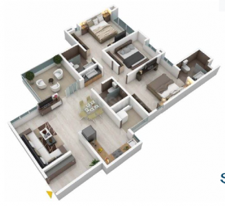 Gallery Cover Image of 1265 Sq.ft 3 BHK Apartment for buy in  Serenity Apartment, Kothrud for 16500000