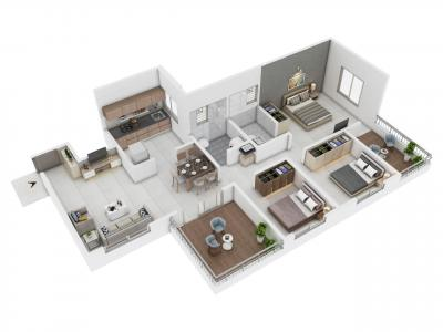 Gallery Cover Image of 1310 Sq.ft 3 BHK Apartment for buy in Paranjape Schemes Madhukosh, Dhayari for 9805000