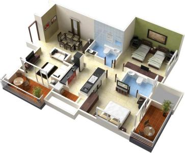 Gallery Cover Image of 1040 Sq.ft 2 BHK Apartment for buy in VR Residency, Banaswadi for 3500000