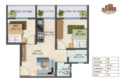 Gallery Cover Image of 690 Sq.ft 2 BHK Apartment for buy in Sun Shivaalik Park, Bhiwandi for 2300000