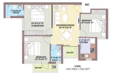 Gallery Cover Image of 970 Sq.ft 3 BHK Apartment for rent in BPTP Park Elite Premium, Sector 84 for 13500