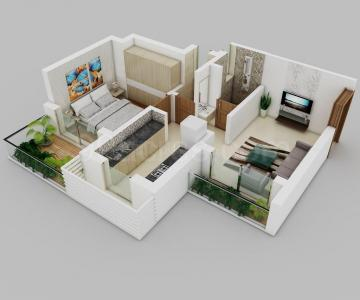Gallery Cover Image of 920 Sq.ft 2 BHK Apartment for buy in Tetris Green Valley, Titwala for 3600000
