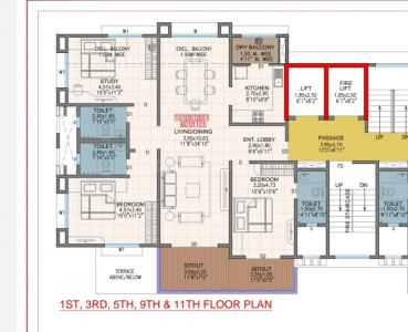 Gallery Cover Image of 1750 Sq.ft 3 BHK Apartment for buy in Galaxy Koolhomes Blue Lotus, Ghorpadi for 23600000