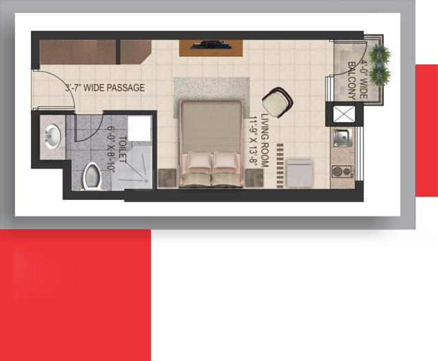 Floor Plan Image of 540 Sq.ft Studio Apartment for buy in Gomti Nagar for 2646000