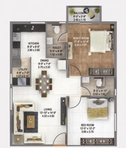 Gallery Cover Image of 1060 Sq.ft 2 BHK Apartment for buy in Alpine Square, Patancheru for 3500000