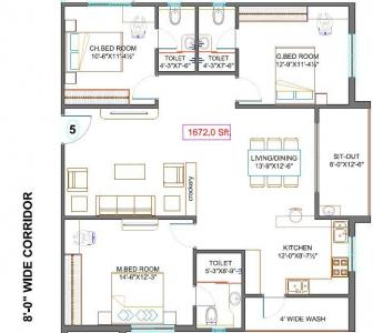 Gallery Cover Image of 1591 Sq.ft 3 BHK Apartment for buy in Fortune Green Golden Oriole, Puppalaguda for 10800000