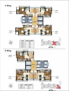 Floor Plan Image of 697 Sq.ft 1 BHK Apartment for buy in Sethia Kalpavruksh Heights, Kandivali West for 10000000