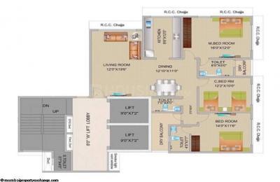 Gallery Cover Image of 1450 Sq.ft 3 BHK Apartment for rent in Kesar Horizon, Matunga East for 130000