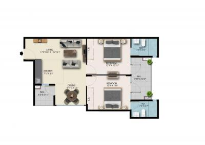 Gallery Cover Image of 1050 Sq.ft 2 BHK Apartment for buy in Suncity Avenue 76, Sector 76 for 2590000