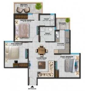 Gallery Cover Image of 845 Sq.ft 3 BHK Apartment for buy in Old Faridabad for 2630000