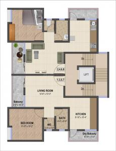Floor Plan Image of 586 Sq.ft 1 BHK Apartment for buy in Gorhe Bk. for 2000000