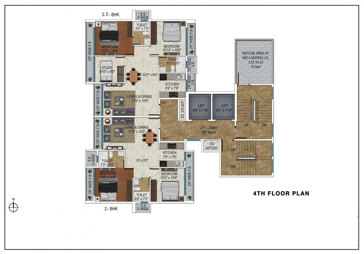 Floor Plan Image of 1190 Sq.ft 2 BHK Apartment for buy in Kharghar for 10400000