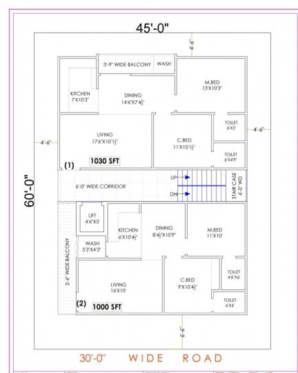 Floor Plan Image of 1000 Sq.ft 2 BHK Apartment for buy in Hyder Nagar for 6500000