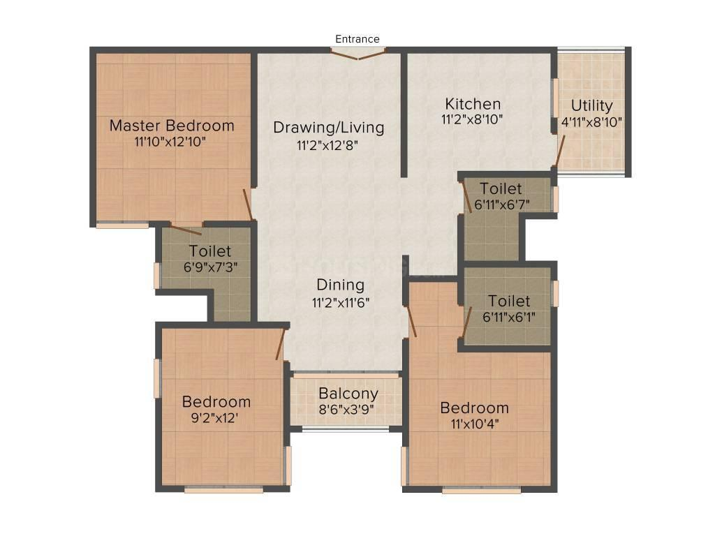 Floor Plan Image of 1918 Sq.ft 3 BHK Apartment for buy in Brookefield for 13300000