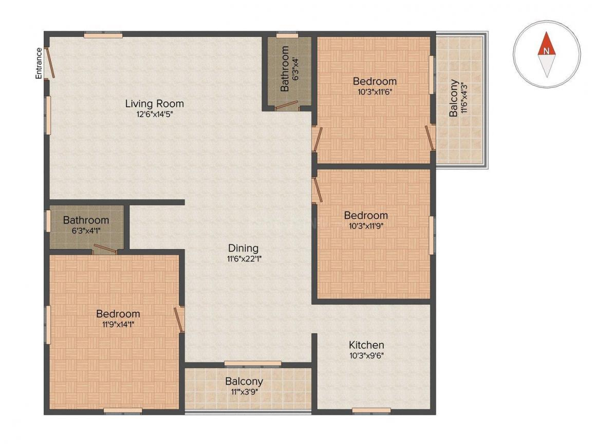 Floor Plan Image of 1340 Sq.ft 3 BHK Apartment for buy in Nagavara for 7400000