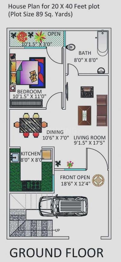 Floor Plan Image of 600 Sq.ft 1 BHK Independent House for buy in Nishatpura for 1800000