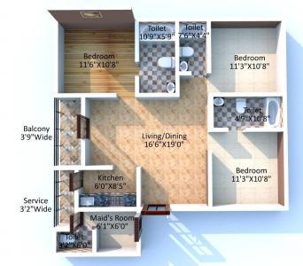 Floor Plan Image of 1563 Sq.ft 3 BHK Apartment for buy in Keventer The North, Kashipur for 10500000