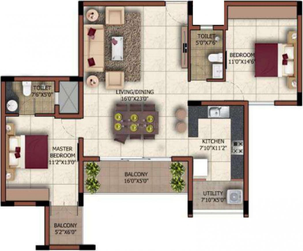 Floor Plan Image of 1232 Sq.ft 2 BHK Apartment for buy in Bagalakunte for 5500000