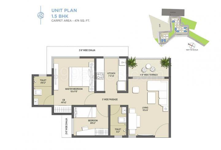 कॉनटिनेंटल फ़ुतूरा, कोंगाओं  में 4482000  खरीदें  के लिए 4482000 Sq.ft 2 BHK अपार्टमेंट के फ्लोर प्लान  की तस्वीर