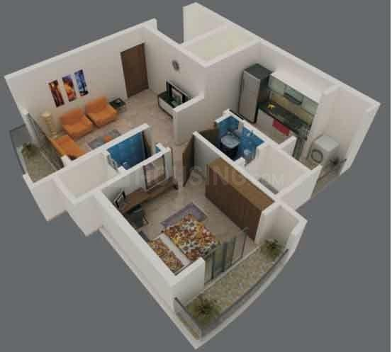 Floor Plan Image of 1000 Sq.ft 2 BHK Apartment for rent in Thane West for 22000