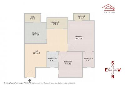 Gallery Cover Image of 1217 Sq.ft 2 BHK Apartment for buy in Mahaveer Varna, Kadugodi for 5200000