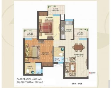 Gallery Cover Image of 984 Sq.ft 2 BHK Apartment for buy in Nimbus Express Park View 2, Chi V Greater Noida for 3247000