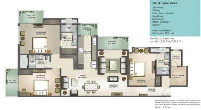 Gallery Cover Image of 1900 Sq.ft 3 BHK Apartment for buy in Mahagun Moderne, Sector 78 for 13700000